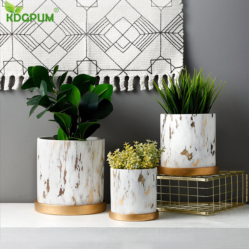 Golden Marble Pattern Succulents Pot Plant Pot With Tray Ceramic Cylindrical Shape Flower Pot Home Christmas New Year Decoration