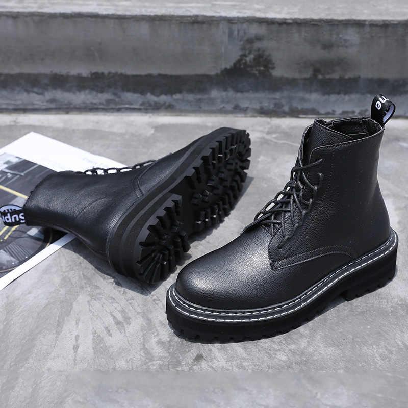 AIYUQI Martin çizmeler kadın 2019 yeni sonbahar İngiliz rüzgar hakiki deri kalın kısa çizmeler motosiklet çizmeler kadın ayakkabıları