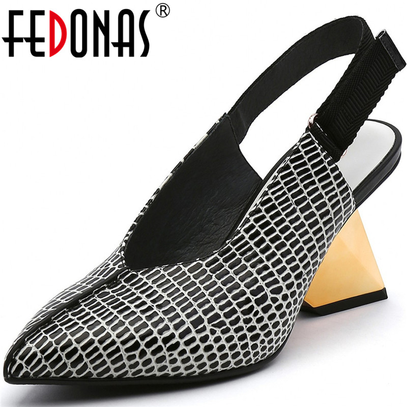 FEDONAS Shallow Sexy High Heels Pumps Genuine Leather Pointed Toe Women Shoes 2020 New Summer Autumn Party Retro Shoes Woman