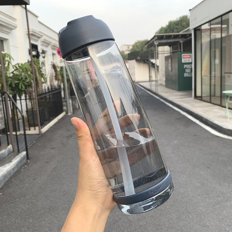 H3f35fcb6793e4e51aebd215070b74552d New 550/850/1000 Ml Sports Water Bottles With Straw Plastic Bottle For Outdoor Travel Children Students School Bottle