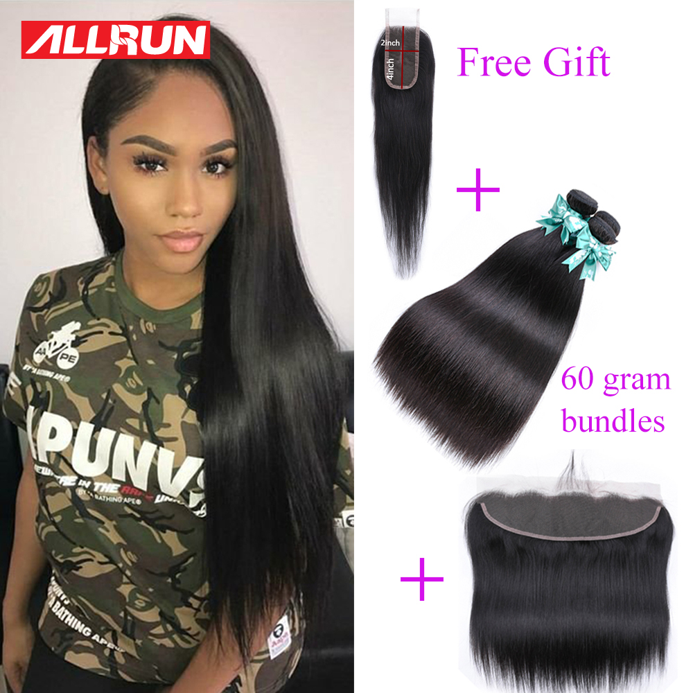 60 Grams Allrun Malaysian Straight Hair Bundles With Frontal Closure 13*4 Human Hair Bundles With Closure With Bundles Non Remy