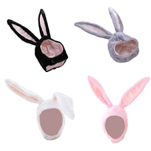 Hat Bunny Ears Plush Rabbit Headwear Hood Party-Props Gift Cosplay Halloween Cute Men