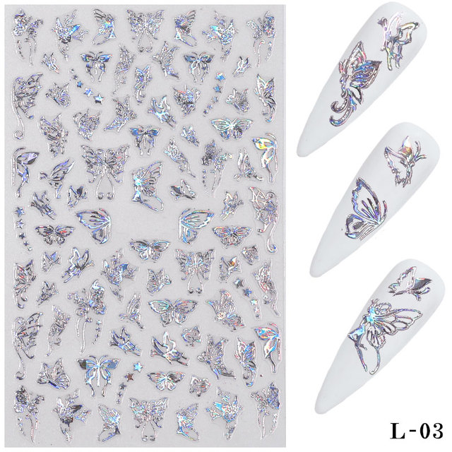 Купить 1 лист золотистых серебристых 3d наклеек для ногтей с бабочками картинки цена