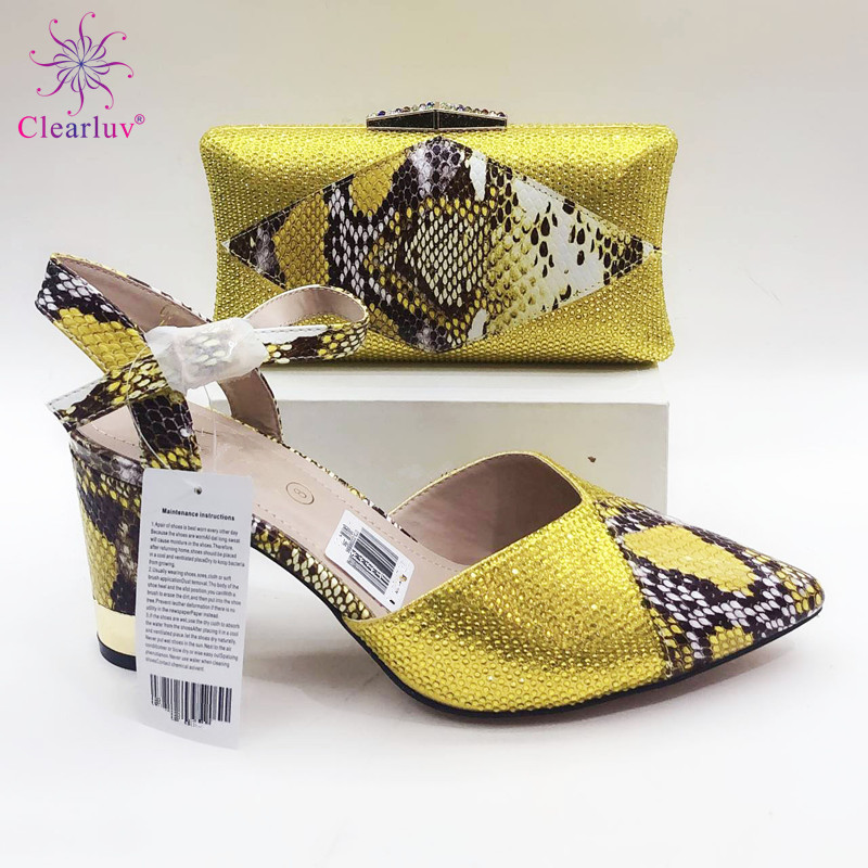 very nice yellow Italian Shoes With Matching Bag High Quality Italy Shoe And Bag set For wedding and party