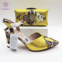 Italian-Shoes Wedding Yellow High-Quality Matching-Bag Party with And Bag-Set for Very-Nice