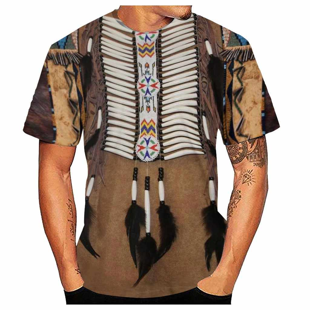 Indyjskie męskie wydruki w stylu etnicznym 3D, koszulka z krótkim rękawem na hip-hop główna ulica wygodna moda fitness # A3