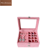 Mrs.Shawn  Small Velvet Pink Carrying Case with Glass Cover Jewelry Ring Display Box Tray Holder Storage Box Organizer Earrings