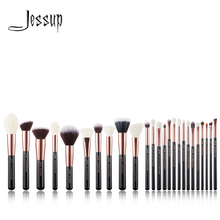 Jessup pincéis de maquiagem profissional conjunto de ferramentas de escova fundação pó blusher ouro rosa/preto natural cabelo sintético