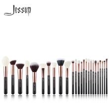 Jessup profesyonel makyaj fırça seti makyaj fırça araçları vakfı pudra allık gül altın/siyah doğal sentetik saç