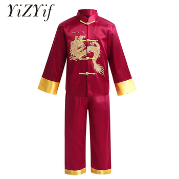 Kids Traditional Chinese Embroidery Dragon Kung Fu Outfit Tang Suit Satin for Boys tai chi Martial Art Shaolin Wing Chun Costume фото