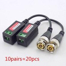 Cctv-Camera Bnc Cable Adapter Transceivers Video Balun Passive Cat5 10pairs 20pcs Distance-Utp
