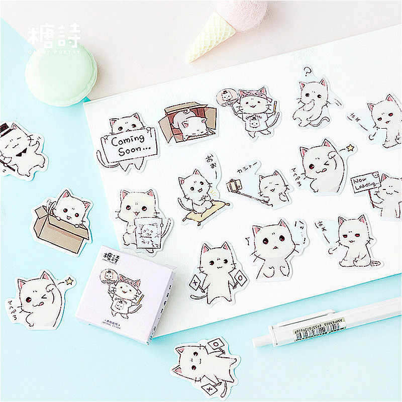 1 Pack Halus Lucu Kucing Putih Washi Tape Warna Dasar Kertas Washi Tape Pita Perekat DIY Dekoratif Label Stationery Tape