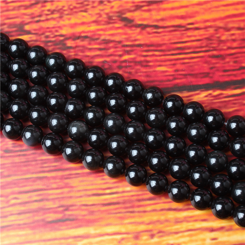 Obsidian Natural Stone Bead Round Loose Spaced Beads 15 Inch Strand 4/6/8 / 10mm For Jewelry Making DIY Bracelet Necklace