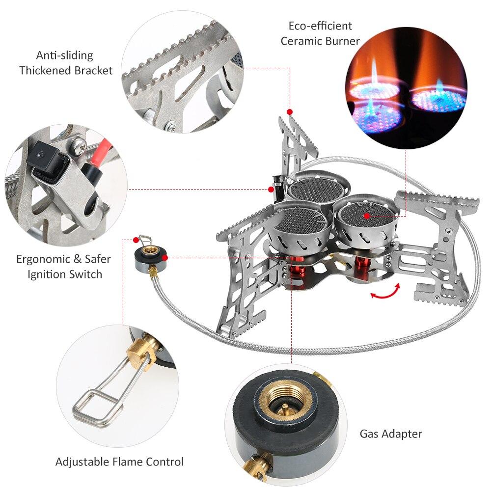 Lixada 8000 Вт портативная газовая плита наружная ветрозащитная походная горелка для кемпинга оборудование для походов путешествия - 3