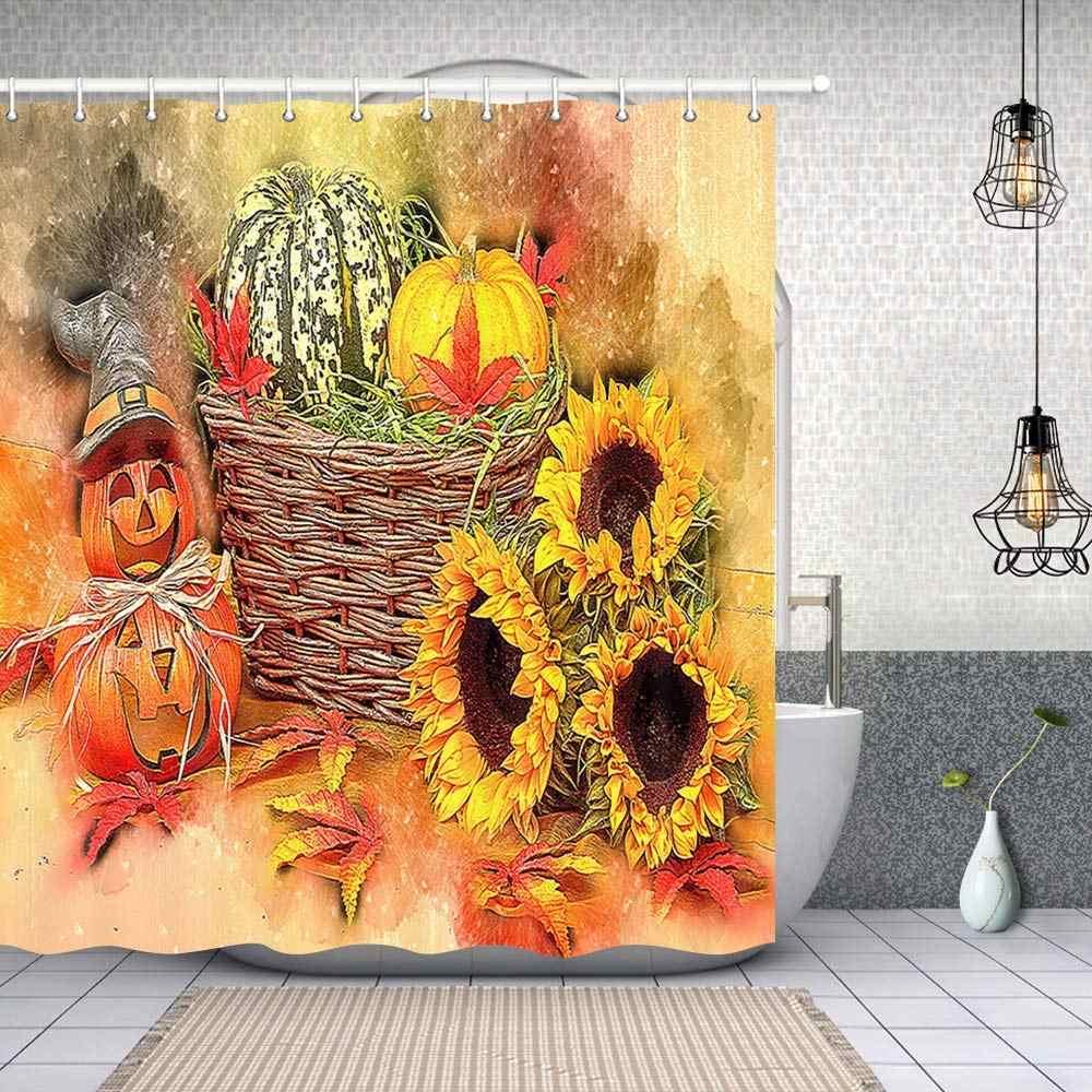 Autumn Farm Harvest Pumpkins Sunflower Fabric Shower Curtain Bathroom Decor Set