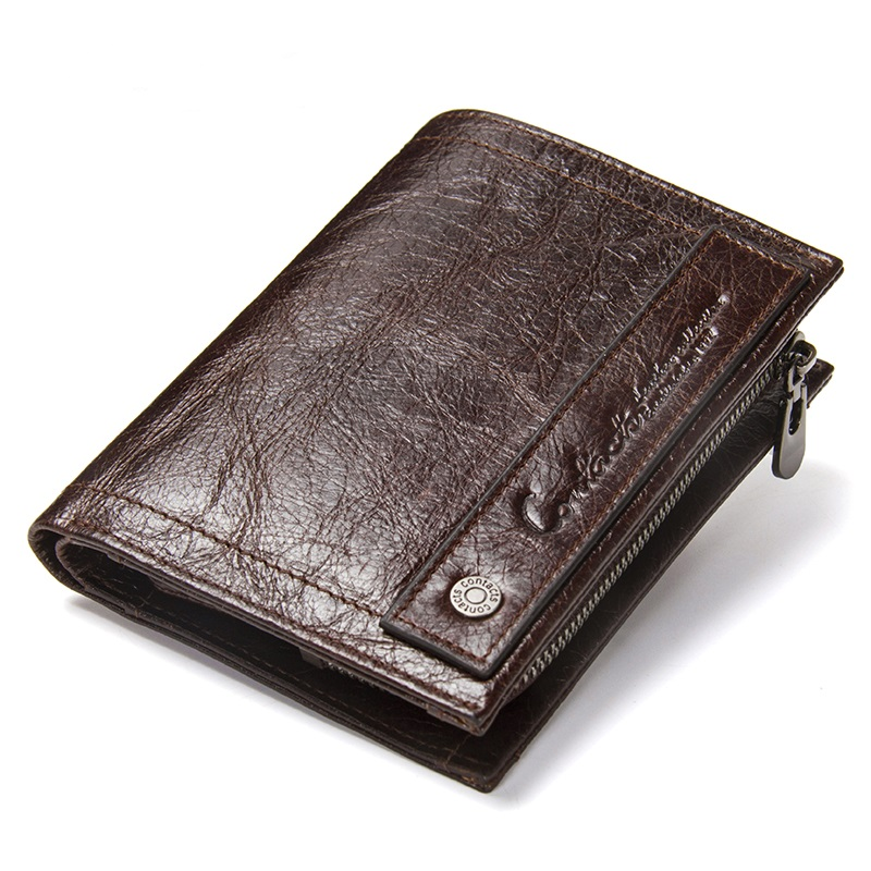 Contacts Men's Genuine Leather Wallet Male Short Coin Pocket Purse With Card Holder