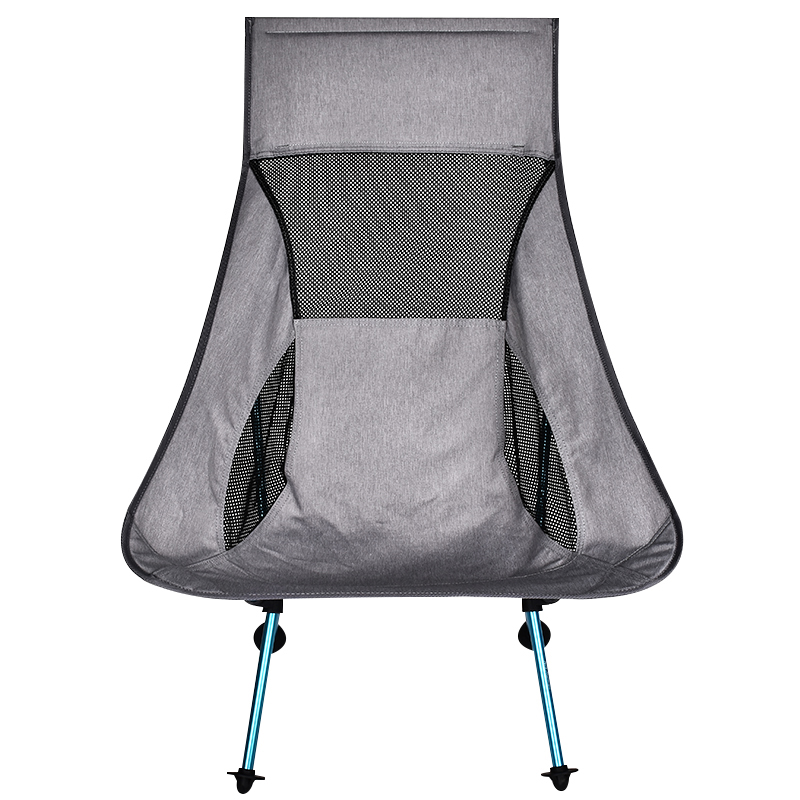 Portable Gray Moon Chair Fishing Camping Folding Hiking Seat with Pocket Ultralight Chair Outdoor Furniture Camping Chair image