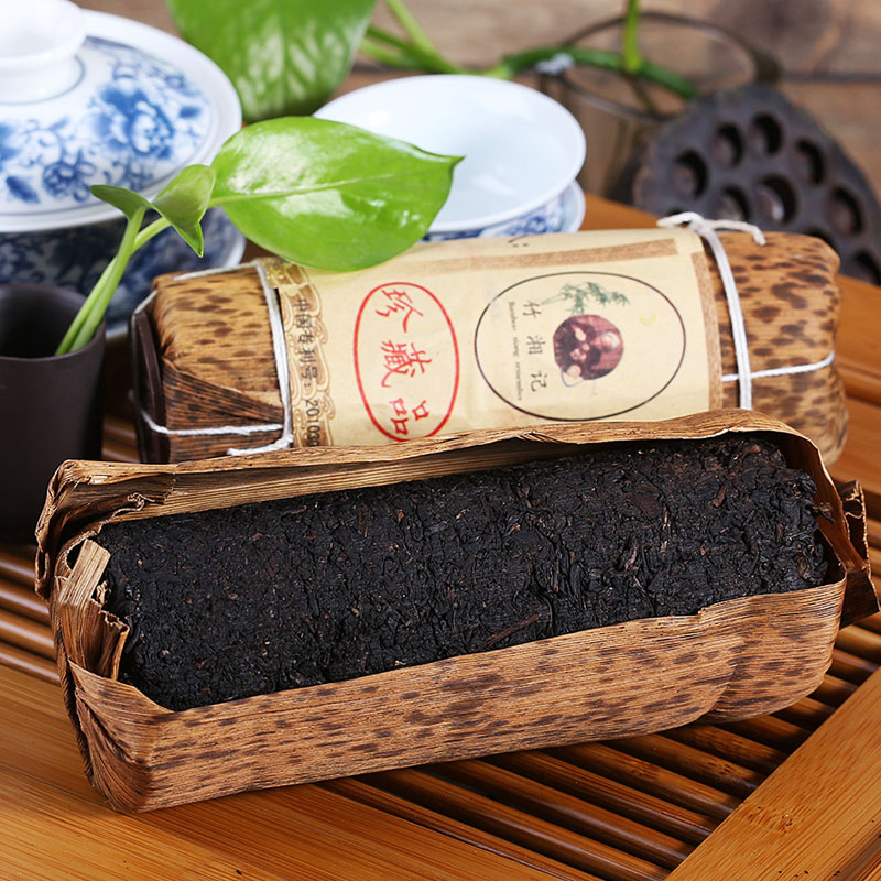 200g Chinese HuNan Anhua Black Tea Special Grade Bamboo Packing Pure Manual To Suppress Black Tea New Arrival Green Food