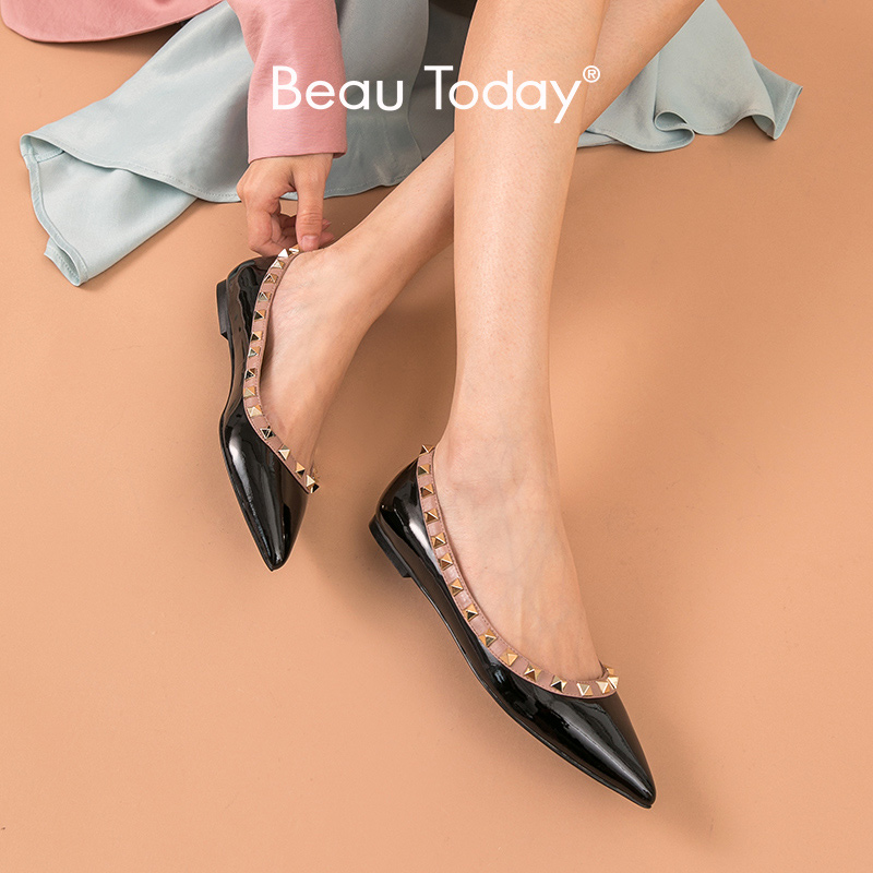 BeauToday Flats Women Patent Leather Rivet Decoration Pointed Toe Spring Ladies Shallow Slip On Shoes Handmade 28025