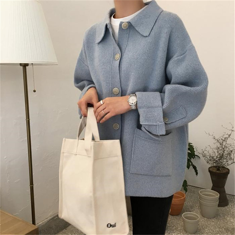 HziriP 2019 Korea Preppy Style Solid Patchwork Soft Autumn Winter Thick Warm Cardigans High Quality Pockets Knitted Sweaters