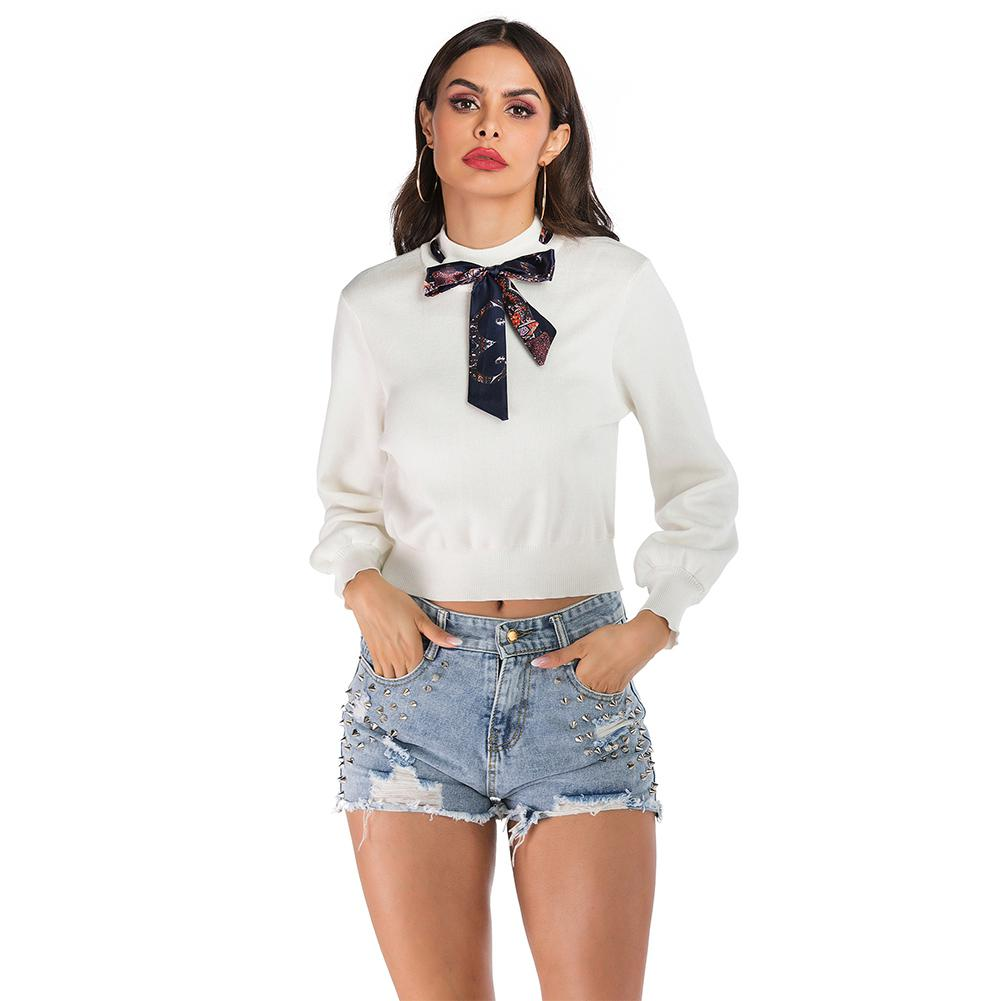 2019 New Yfashion Women Slim Bow Long Sleeve Shirt Knit Pullover in T Shirts from Women 39 s Clothing