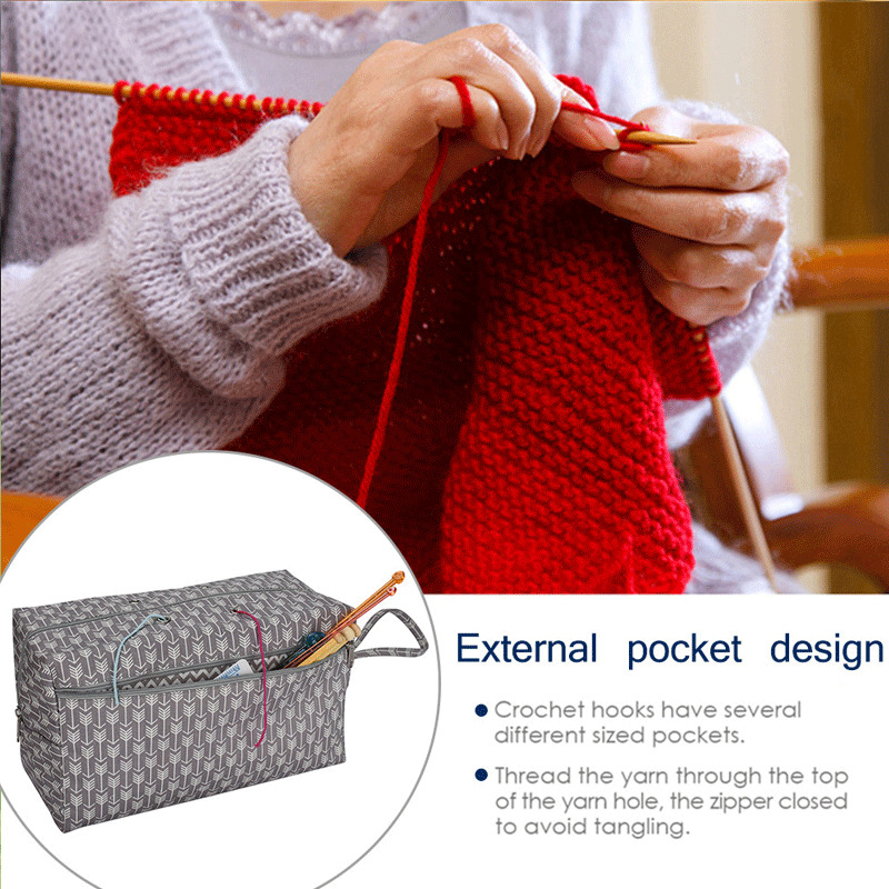 Yarn Storage Bag DIY Knitting Crochet Tool Tote Organizer Holder Portable Cases
