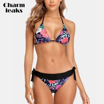цена на Charmleaks Women Bikini Set Flower Print Swimsuit Halter Swimwear Strappy Bandaged Sexy Bathing Suit Beachwear