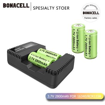 Bonacell 3 7V akumulator litowo-jonowy 2800mAh 16340 CR123A RCR123A CR17345 dl12 akumulator + ładowarka LCD do Arlo kamera ochrony tanie i dobre opinie 16340 lcd charger Li-ion 2800 mah Ładowarka Zestawy Li-ion battery Rechargeable battery 16430 changer CR123A CR17345 KL23a VL123A DL123A SF123