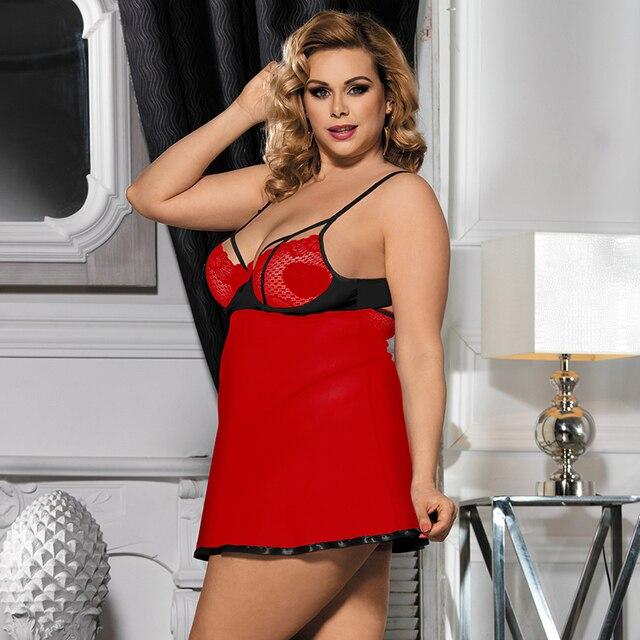 Sexy Transparent Sleepwear Nightie Dress Plus Size #F1633 2