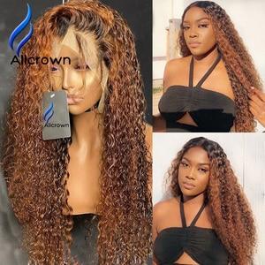 Image 2 - Парики из 360 человеческих волос с кудрявой передней частью на сетке для женщин, бразильские волосы, отбеленные узлы, нереми, цветные волосы плотностью 250%