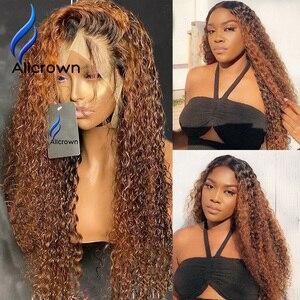 Image 2 - Alicrown 360 Lace Front Krullend Menselijk Haar Pruiken Voor Vrouwen Braziliaanse Haar Gebleekte Knopen Non Remy Gekleurde Haar 250% dichtheid