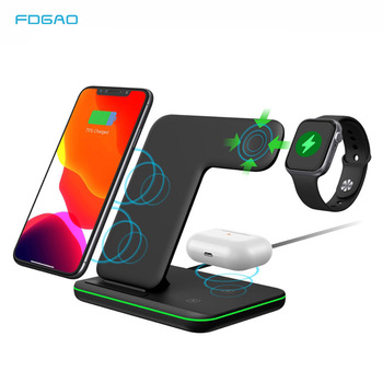 FDGAO 15W 3 in 1 Qi Fast Wireless Charger Pad Dock Station For iPhone 12 11 Pro XS Max XR X 8 Apple Watch SE 6 5 4 3 AirPods Pro