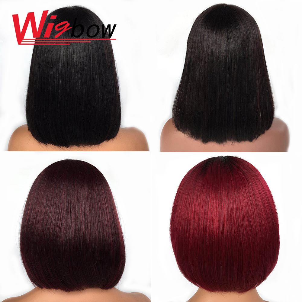 Cheap Wig Human Hair Multi Color 1B 1B/Burgundy 1b/99j Straight Bob Wig For Women With Free Shipping 150 Density Human Hair Wigs