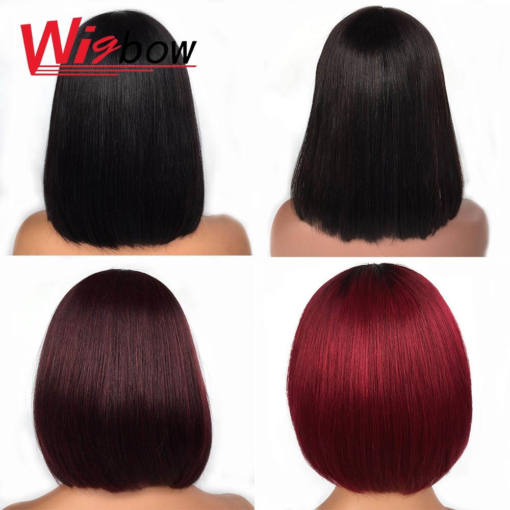Cheap Wig Human Hair Multi Color 1B 1B/Burgundy 1b/99j Straight Bob Wig For Women With Free Shipping 150 Density Human Hair Wigs