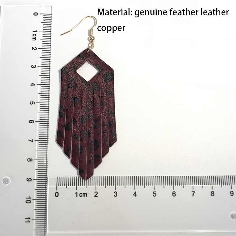 M & G Trenyd hakiki deri leopar küpe kadınlar için deri püskül kolye Dangle küpe zarif moda takı aksesuarları
