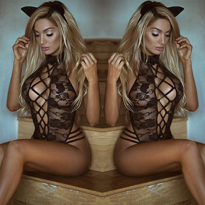 Sexy Hot Erotic Black Lace Perspective Teddy Baby Dolls Cosplay Cat Uniform Women's Sexy Lingerie For Role-playing Games