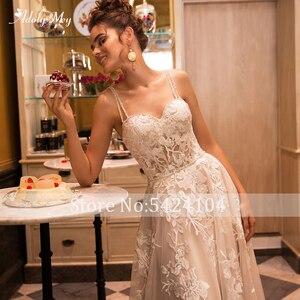 Image 3 - Adoly メイゴージャスなアップリケ裁判所の列車 A ラインのウェディングドレス 2020 ラグジュアリースパゲッティストラップビーズ王女花嫁衣装プラスサイズ