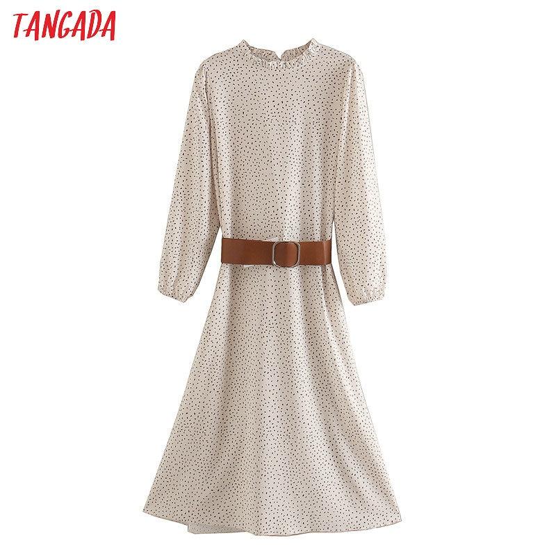 Tangada fashion women dots print elegant midi dress with belt 2020 new Long Sleeve Ladies work Dress Vestidos XN326