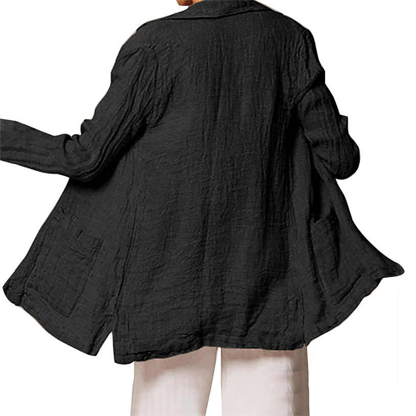 Lange Bloluse Frauen Schwarz Weiß Leinen Outwear Frauen Kaminsims Damen Jas Dames Louson Femme Damen Mäntel blaser femme J30