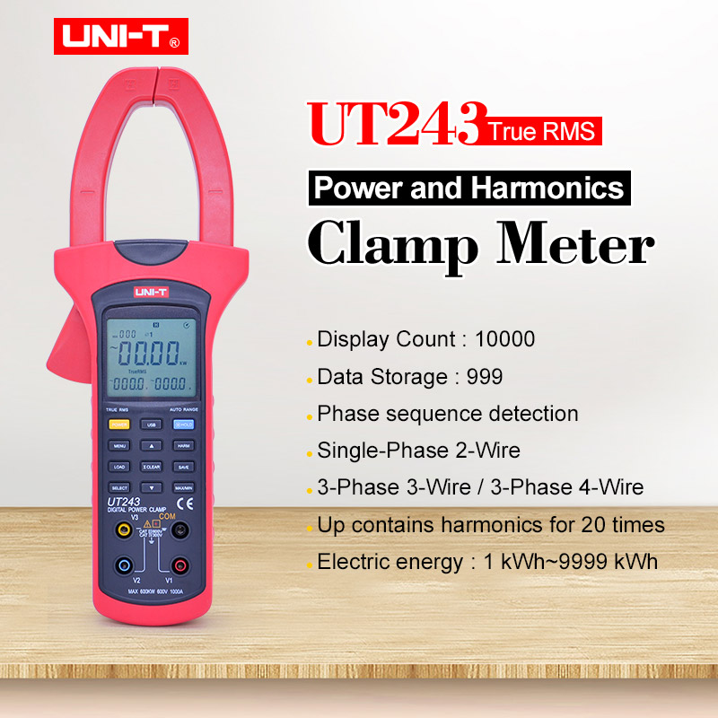UNI T UT243 Power and Harmonics Clamp Meter Ture RMS Data hold Digital multimeter AC voltmeter Ammeter 40~80Hz Frequency tester|Clamp Meters| |  - title=