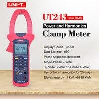 UNI T UT243 السلطة والتجانس المشبك متر Ture RMS البيانات عقد الرقمية المتعدد التيار المتناوب الفولتميتر مقياس التيار الكهربائي 40 ~ 80Hz التردد-في كلامب ميتر من أدوات على