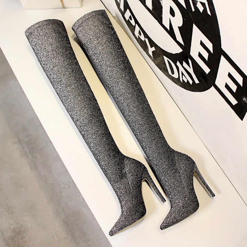 Sonbahar Kış Glitter Kadın Uyluk yüksek çizmeler Zarif Ince topuklu Elastik Ince diz çizmeler üzerinde yüksek topuklu Çorap Çorap ayakkabı