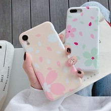 For Iphone 7 8 Plus 6s Pink Petals Pattern Phone Case IPhone XI X XS 6 6S Soft Silicone Cover