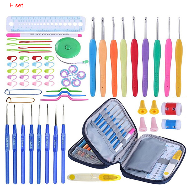 Looen-Crochet-Hooks-Set-17pcs-Crochet-Needles-Yarn-Knitting-Needles-With-Blue-Case-Agulhas-de-Crochet