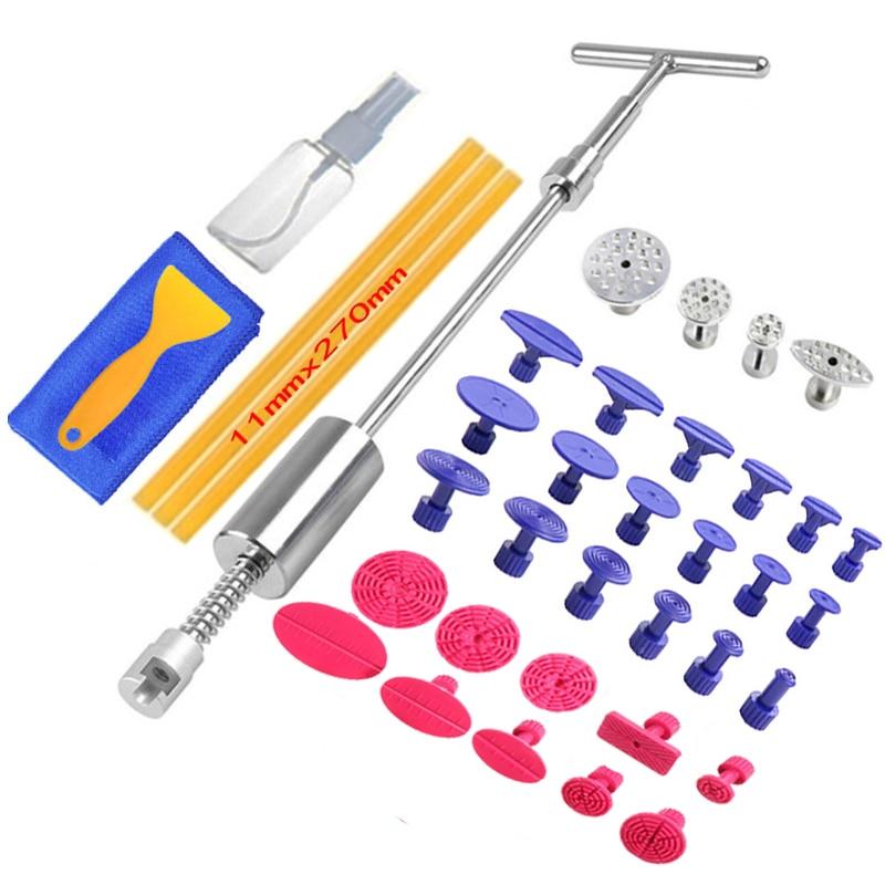 Ferramentas de reparação dent paintless dent extrator kit remoção dent martelo deslizante cola varas reverso martelo cola tabs danos causados por granizo do carro