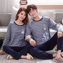 Stripe Printed Lovers Pajamas Long Sleeves Autumn Women Men Long Sleeves Autumn Sleepwear Pyjamas For Lovers Couple Pajama Pj Se cheap Foply COTTON Polyester cartoon PJM1536 Round Neck Full Length summer Polyester Cotton More than 95 Standard Section pullover