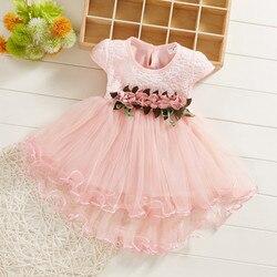 Estilo coreano vestido da menina de flor do bebê de manga curta costura babado vestido de malha princesa Verão Pequeno fresco платье для девочки 50 *