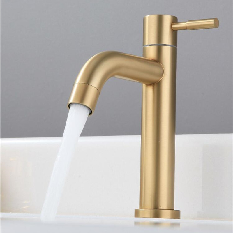 Brush Gold Bathroom Basin Faucet Single Cold Single Lever  Basin Faucet Sink Tap Basin Mixer Water Tap Decked 304 SUS