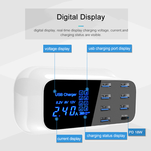"Image 5 - GOOJODOQ פ""ד מטען 40W 8 יציאת USB מטען חכם LED תצוגת USB מהיר טעינה עבור Apple iPhone מתאם ipad xiaomi סמסונג"