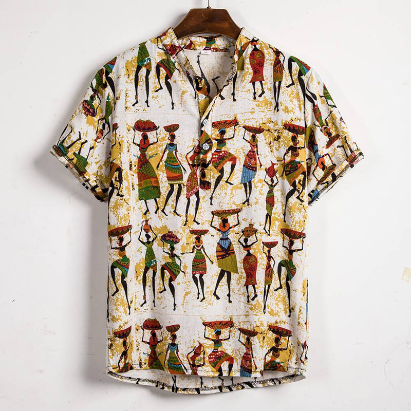 2020 Hawaiian Shirt Men Cotton Linen Shirts Printed Short Sleeve Casual Loose Shirts Henley Men Shirt Summer Tops